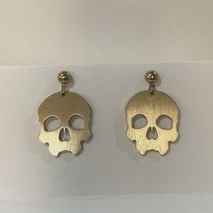 Hanging Gold Skull Earrings